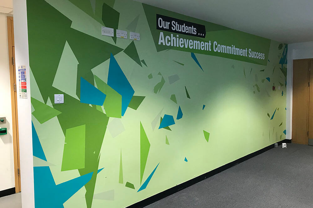 wall graphic printed for a student centre